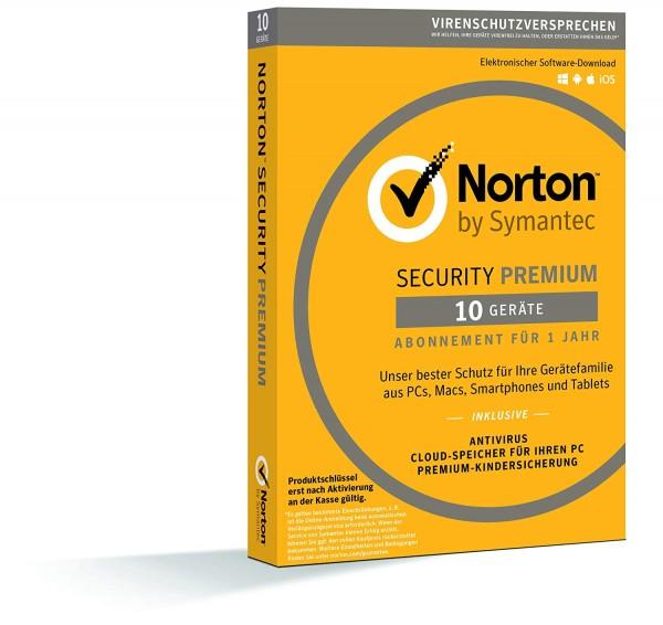 Norton Security Premium + Backup 25 GB 10 Geräte 1 Jahr ESD Key