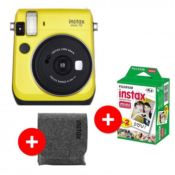 Fujifilm Instax Mini 70 gelb +20 Bilder +WOOL FELT Case